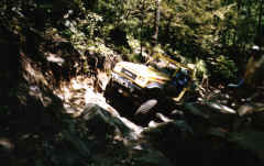 "James Heirs taking the ""Right"" line out of the Rock Garden - Trail 2"
